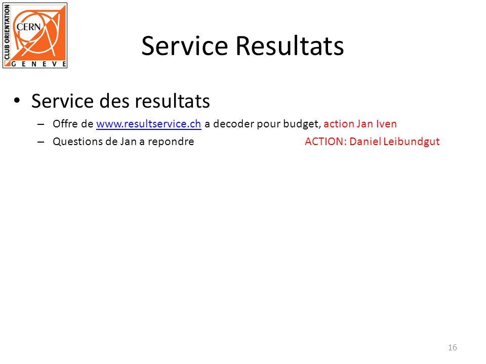 Service Resultats Service des resultats – Offre de www.resultservice.ch a decoder pour budget, action Jan Ivenwww.resultservice.ch – Questions de Jan a repondre ACTION: Daniel Leibundgut 16