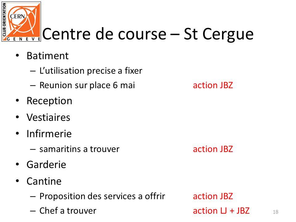Centre de course – St Cergue Batiment – Lutilisation precise a fixer – Reunion sur place 6 maiaction JBZ Reception Vestiaires Infirmerie – samaritins
