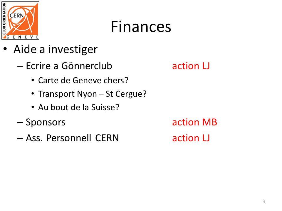 Finances Aide a investiger – Ecrire a Gönnerclubaction LJ Carte de Geneve chers? Transport Nyon – St Cergue? Au bout de la Suisse? – Sponsorsaction MB