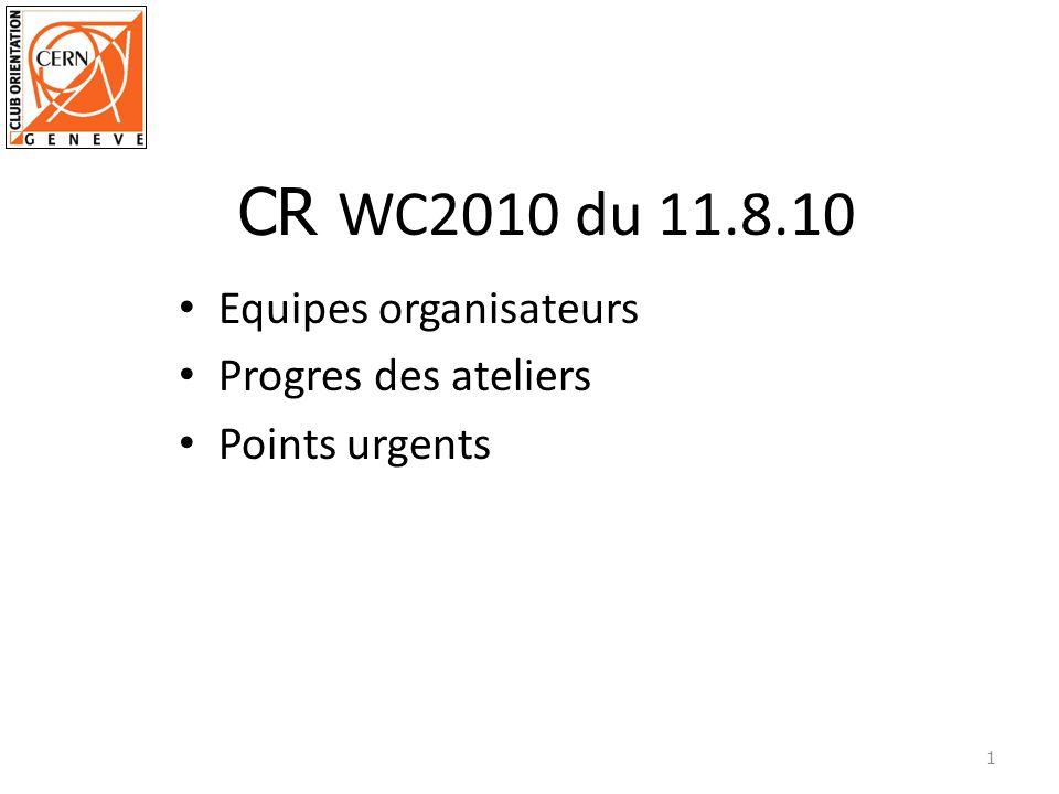 Equipes organisateurs Progres des ateliers Points urgents 1 CR WC2010 du 11.8.10