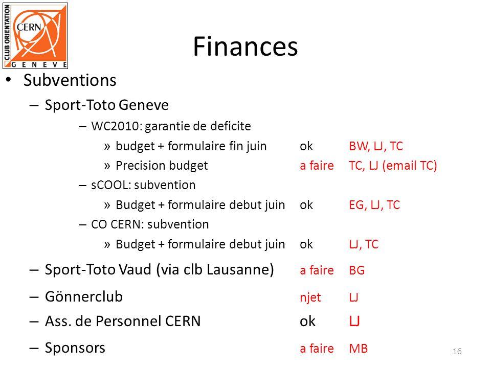 Finances Subventions – Sport-Toto Geneve – WC2010: garantie de deficite » budget + formulaire fin juinokBW, LJ, TC » Precision budgeta faireTC, LJ (email TC) – sCOOL: subvention » Budget + formulaire debut juinokEG, LJ, TC – CO CERN: subvention » Budget + formulaire debut juinokLJ, TC – Sport-Toto Vaud (via clb Lausanne) a faireBG – Gönnerclub njetLJ – Ass.