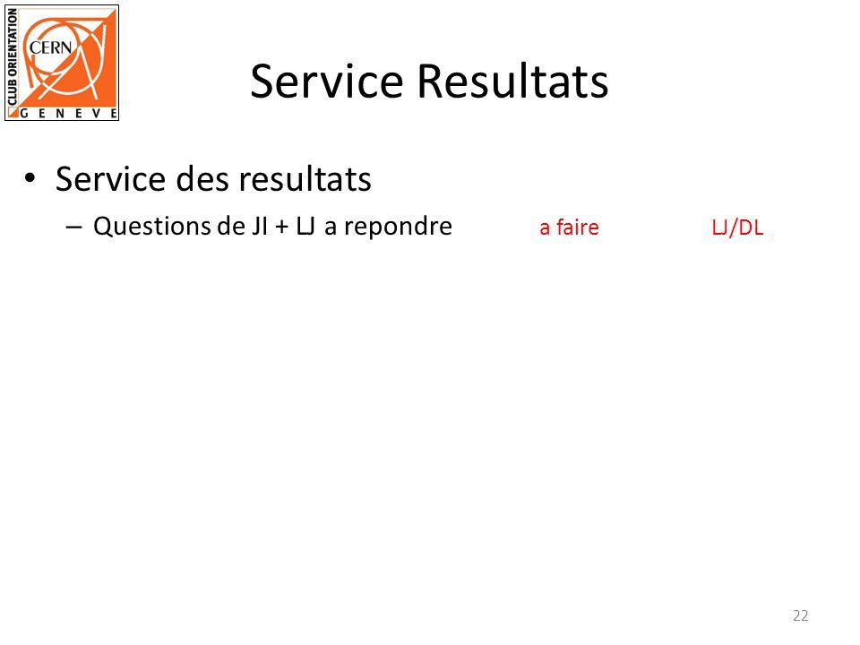 Service Resultats Service des resultats – Questions de JI + LJ a repondre a faireLJ/DL 22