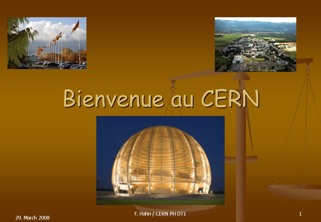 29. March 2008 Bienvenue au CERN 1F. Hahn / CERN PH DT1