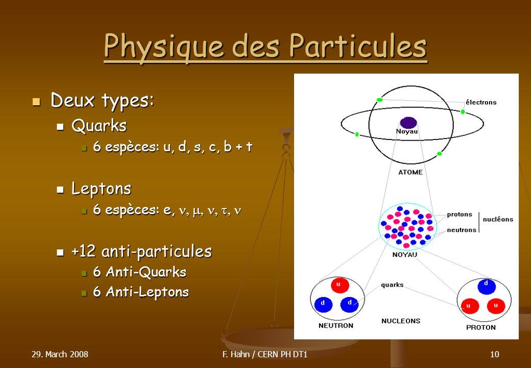 Physique des Particules Deux types: Deux types: Quarks Quarks 6 espèces: u, d, s, c, b + t 6 espèces: u, d, s, c, b + t Leptons Leptons 6 espèces: e,