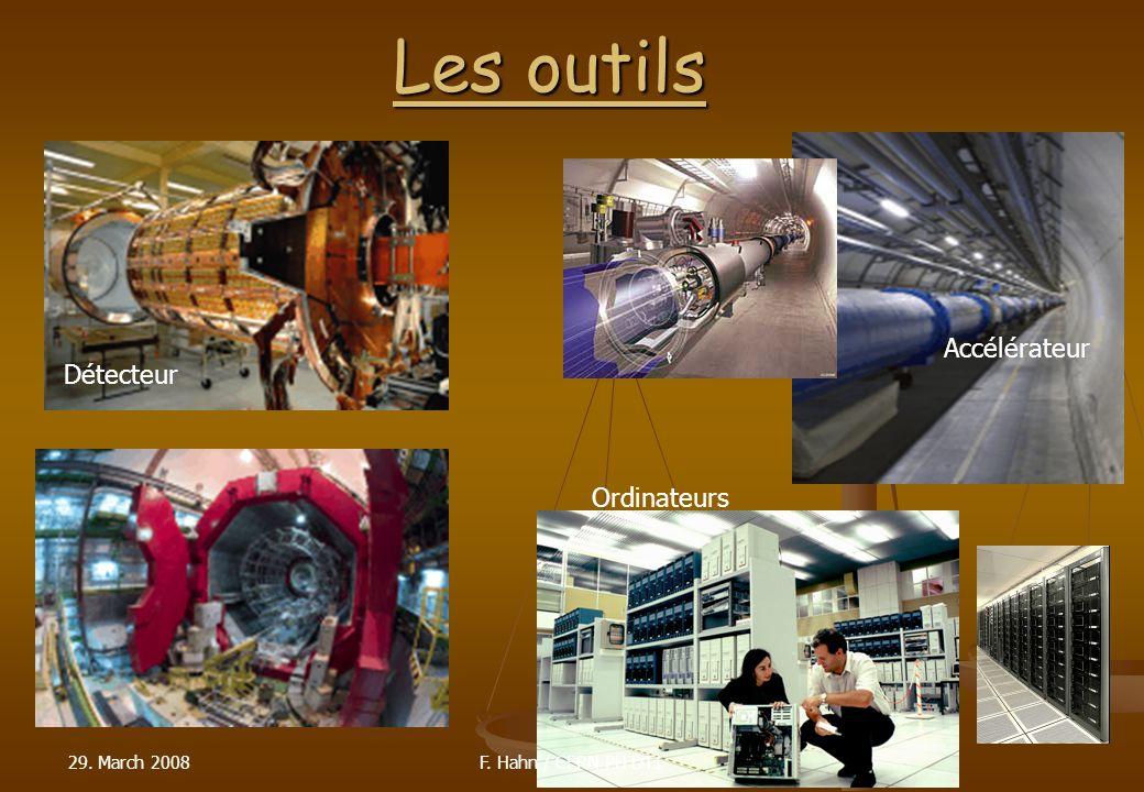 29. March 200814 Les outils Accélérateur Détecteur Ordinateurs F. Hahn / CERN PH DT1
