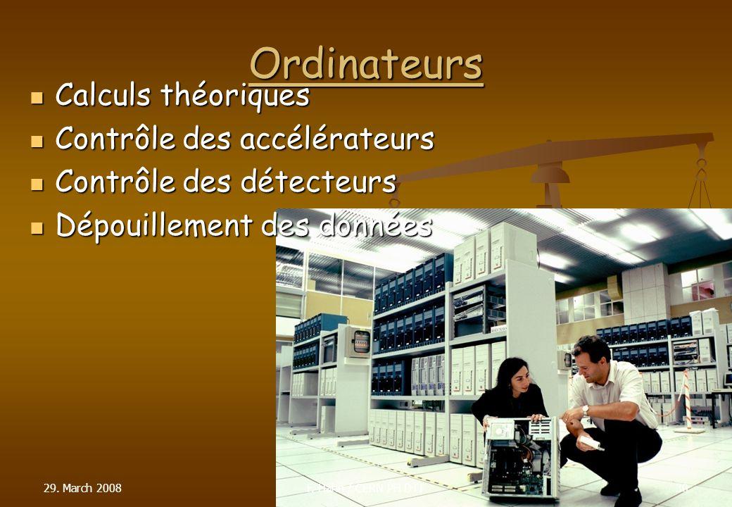 Ordinateurs Calculs théoriques Calculs théoriques Contrôle des accélérateurs Contrôle des accélérateurs Contrôle des détecteurs Contrôle des détecteur