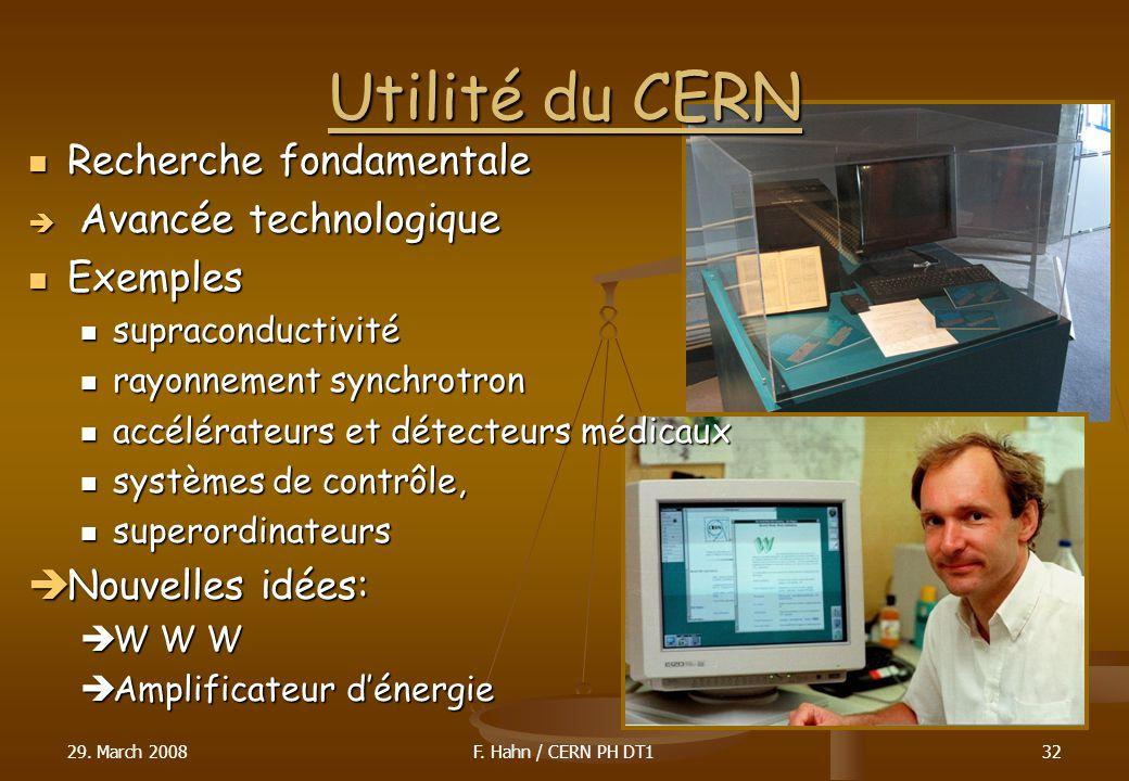 Utilité du CERN Recherche fondamentale Recherche fondamentale Avancée technologique Avancée technologique Exemples Exemples supraconductivité supracon