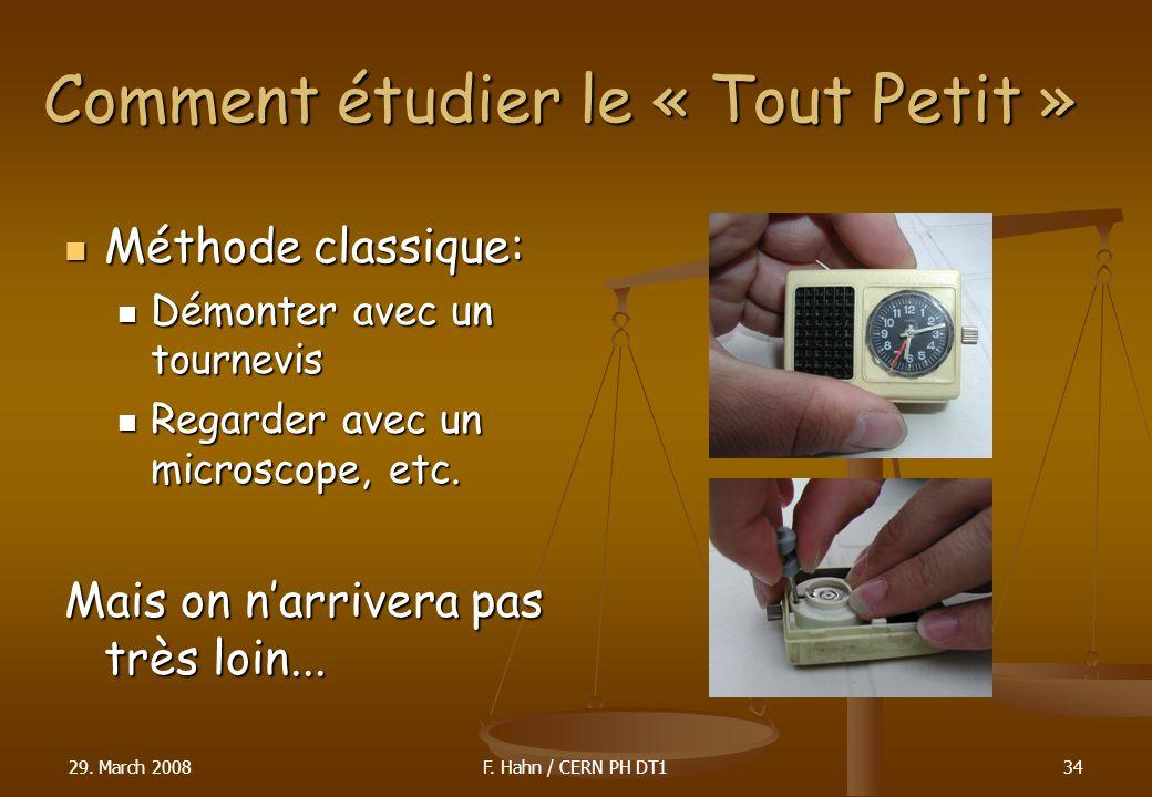 Comment étudier le « Tout Petit » Méthode classique: Méthode classique: Démonter avec un tournevis Démonter avec un tournevis Regarder avec un microsc