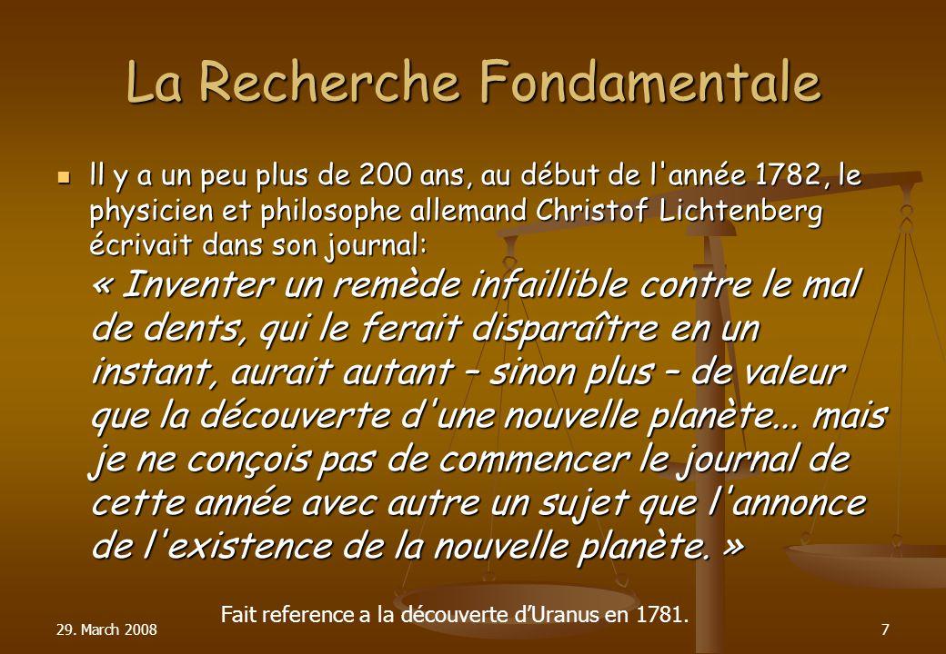 La Recherche Fondamentale ll y a un peu plus de 200 ans, au début de l'année 1782, le physicien et philosophe allemand Christof Lichtenberg écrivait d