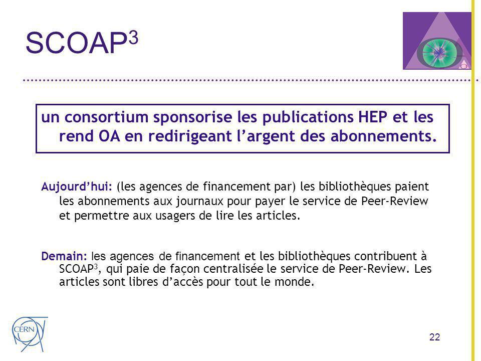22 SCOAP 3 un consortium sponsorise les publications HEP et les rend OA en redirigeant largent des abonnements.