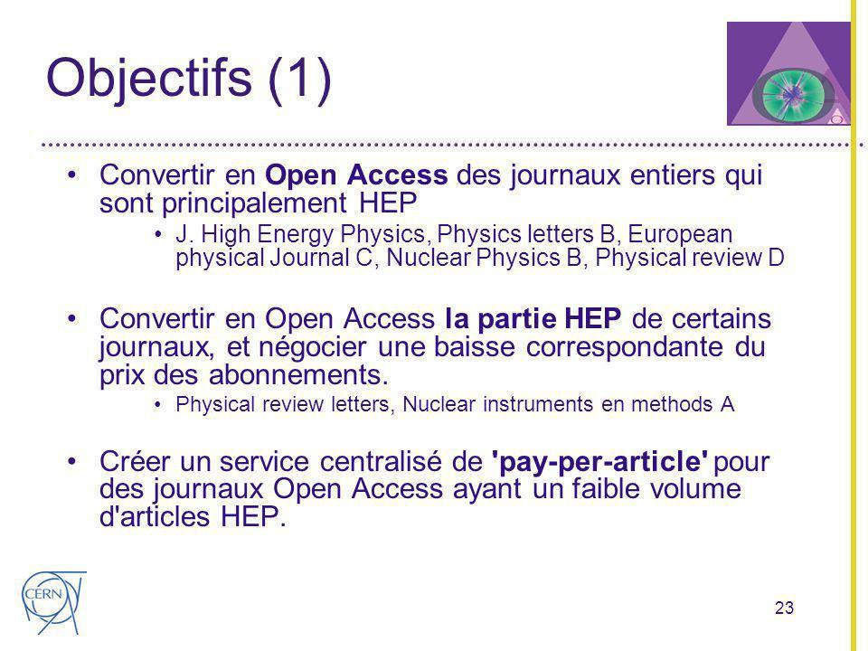 23 Objectifs (1) Convertir en Open Access des journaux entiers qui sont principalement HEP J.