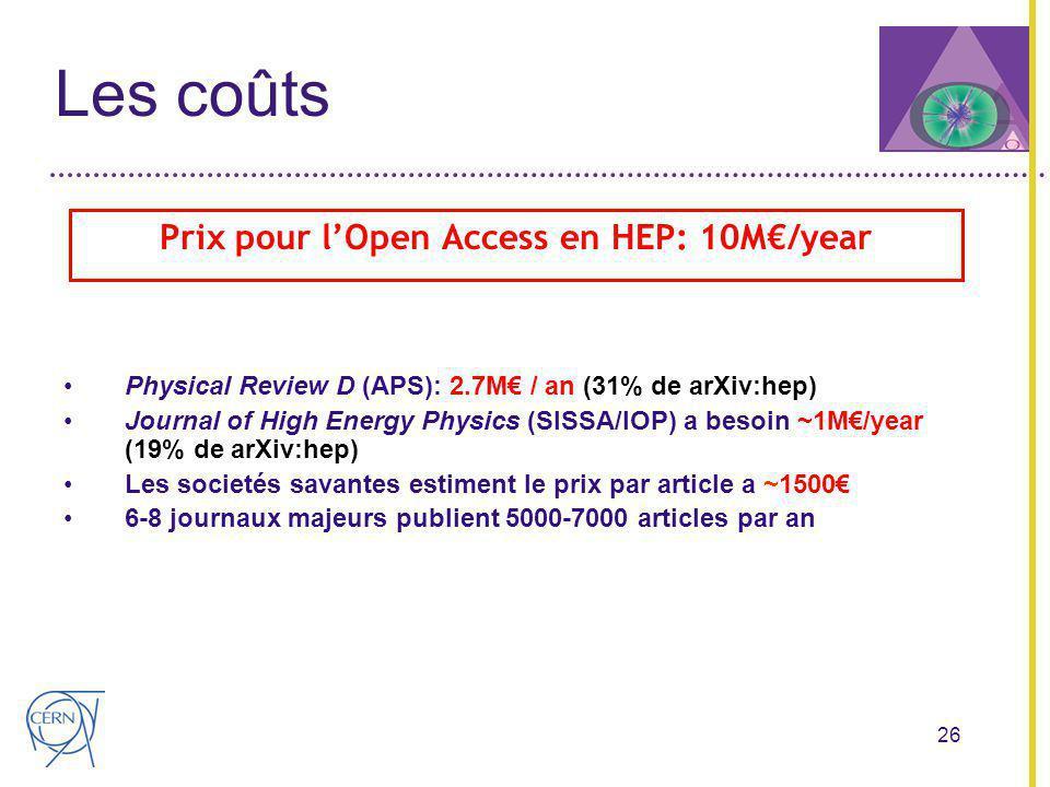 26 Les coûts Prix pour lOpen Access en HEP: 10M/year Physical Review D (APS): 2.7M / an (31% de arXiv:hep) Journal of High Energy Physics (SISSA/IOP) a besoin ~1M/year (19% de arXiv:hep) Les societés savantes estiment le prix par article a ~1500 6-8 journaux majeurs publient 5000-7000 articles par an