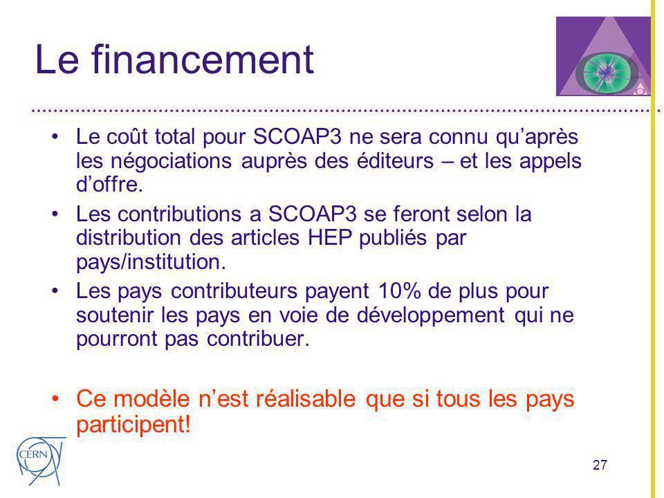 27 Le financement Le coût total pour SCOAP3 ne sera connu quaprès les négociations auprès des éditeurs – et les appels doffre.