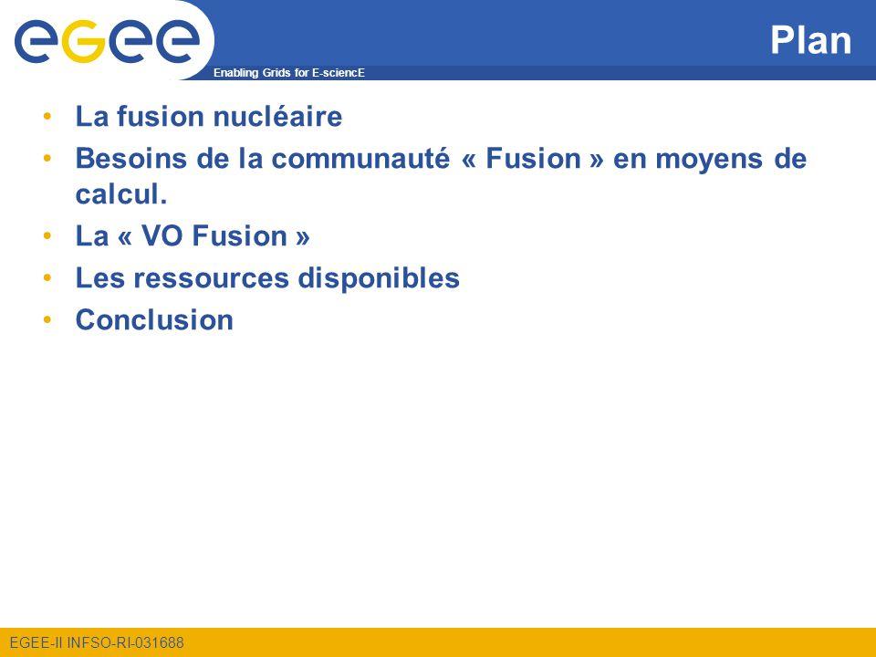 Enabling Grids for E-sciencE EGEE-II INFSO-RI-031688 La fusion Essayer de reproduire les mécanismes de création dénergie à lœuvre dans le soleil Fusion de deux atomes = permettre aux forces nucléaires présentes dans les noyaux de lemporter sur la répulsion électrostatique.