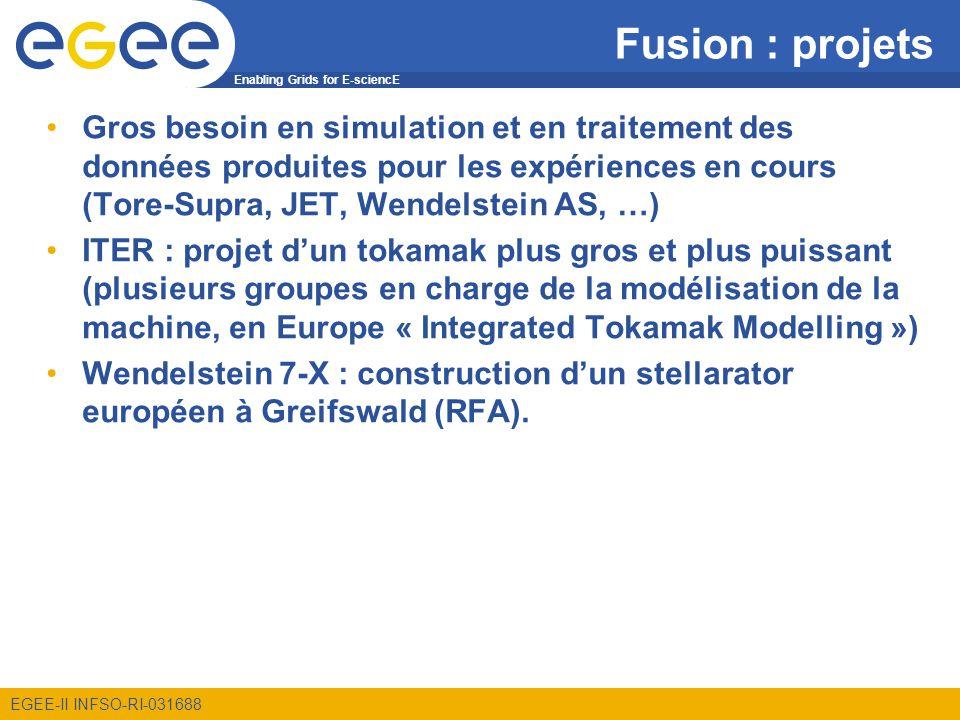 Enabling Grids for E-sciencE EGEE-II INFSO-RI-031688 Fusion : projets Gros besoin en simulation et en traitement des données produites pour les expériences en cours (Tore-Supra, JET, Wendelstein AS, …) ITER : projet dun tokamak plus gros et plus puissant (plusieurs groupes en charge de la modélisation de la machine, en Europe « Integrated Tokamak Modelling ») Wendelstein 7-X : construction dun stellarator européen à Greifswald (RFA).