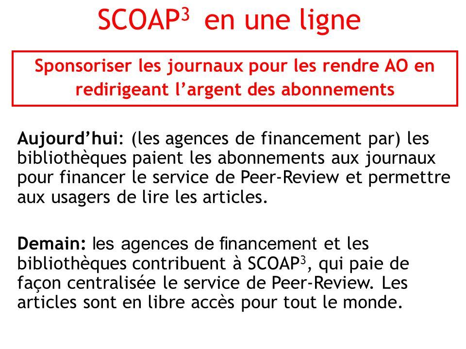 SCOAP 3 en une ligne Sponsoriser les journaux pour les rendre AO en redirigeant largent des abonnements Aujourdhui: (les agences de financement par) les bibliothèques paient les abonnements aux journaux pour financer le service de Peer-Review et permettre aux usagers de lire les articles.