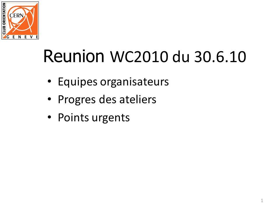 Equipes organisateurs Progres des ateliers Points urgents 1 Reunion WC2010 du 30.6.10