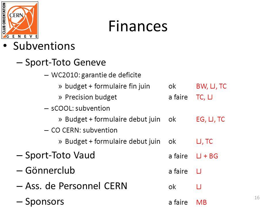 Finances Subventions – Sport-Toto Geneve – WC2010: garantie de deficite » budget + formulaire fin juinokBW, LJ, TC » Precision budgeta faireTC, LJ – sCOOL: subvention » Budget + formulaire debut juinokEG, LJ, TC – CO CERN: subvention » Budget + formulaire debut juinokLJ, TC – Sport-Toto Vaud a faireLJ + BG – Gönnerclub a faireLJ – Ass.
