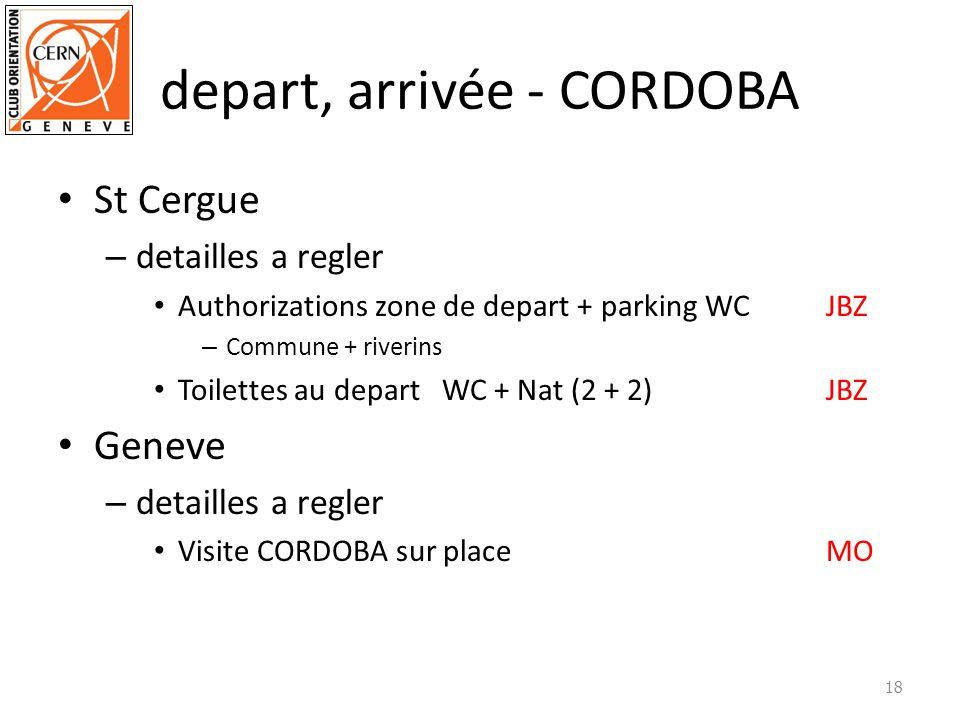 depart, arrivée - CORDOBA St Cergue – detailles a regler Authorizations zone de depart + parking WCJBZ – Commune + riverins Toilettes au departWC + Nat (2 + 2)JBZ Geneve – detailles a regler Visite CORDOBA sur placeMO 18