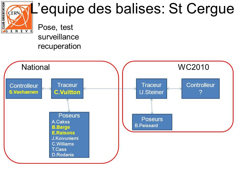 Lequipe des balises: St Cergue Traceur C.Vuitton Controlleur S.Vaehaenen Traceur U.Steiner Controlleur .