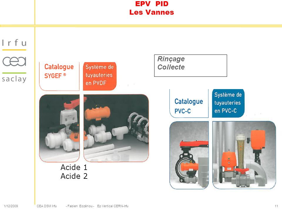 CEA DSM Irfu 1/12/2009- Fabien Eozénou - Ep Vertical CERN-Irfu11 EPV PID Les Vannes Rinçage Collecte Acide 1 Acide 2
