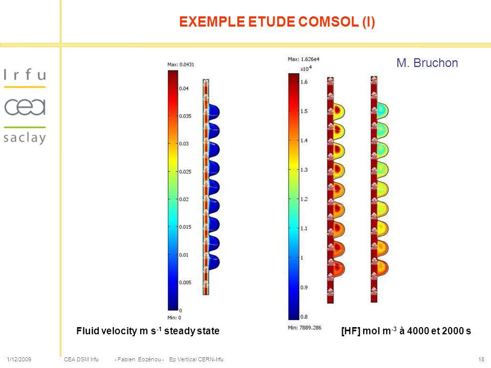 CEA DSM Irfu 1/12/2009- Fabien Eozénou - Ep Vertical CERN-Irfu18 EXEMPLE ETUDE COMSOL (I) Fluid velocity m s -1 steady state[HF] mol m -3 à 4000 et 20