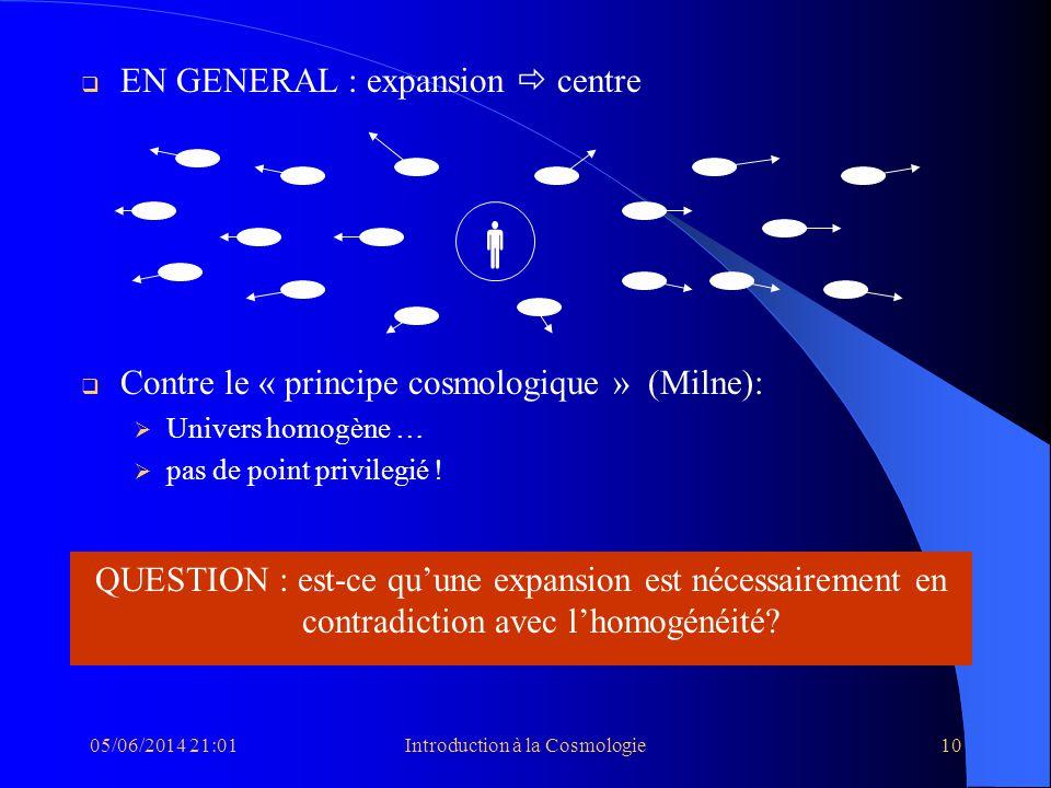 05/06/2014 21:03Introduction à la Cosmologie10 EN GENERAL : expansion centre Contre le « principe cosmologique » (Milne): Univers homogène … pas de po