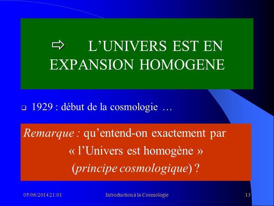 05/06/2014 21:03Introduction à la Cosmologie13 LUNIVERS EST EN EXPANSION HOMOGENE 1929 : début de la cosmologie … Remarque : quentend-on exactement pa