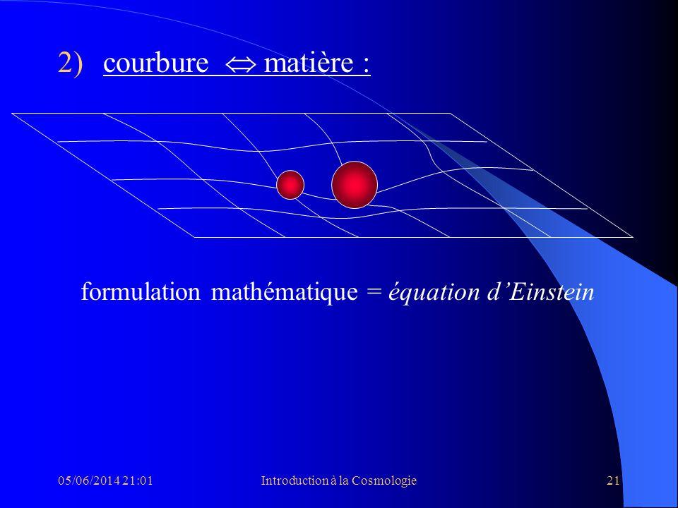 05/06/2014 21:03Introduction à la Cosmologie21 2)courbure matière : formulation mathématique = équation dEinstein