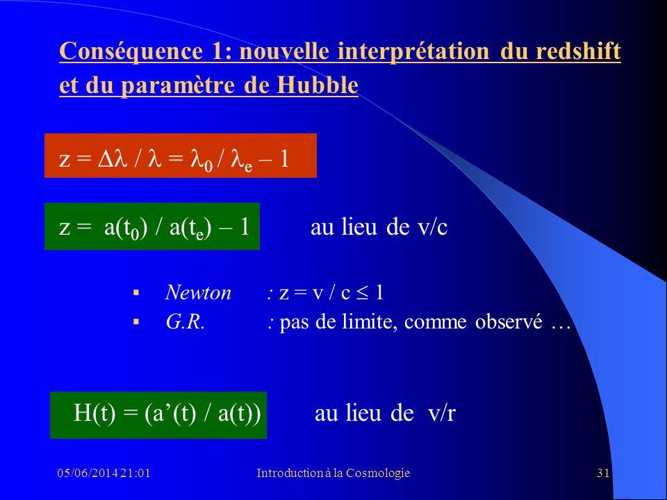 05/06/2014 21:03Introduction à la Cosmologie31 Conséquence 1: nouvelle interprétation du redshift et du paramètre de Hubble z = = 0 / e – 1 z = a(t 0