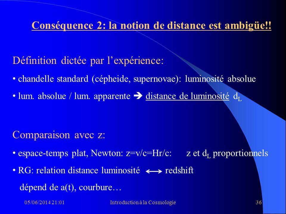 05/06/2014 21:03Introduction à la Cosmologie36 Conséquence 2: la notion de distance est ambigüe!! Définition dictée par lexpérience: chandelle standar