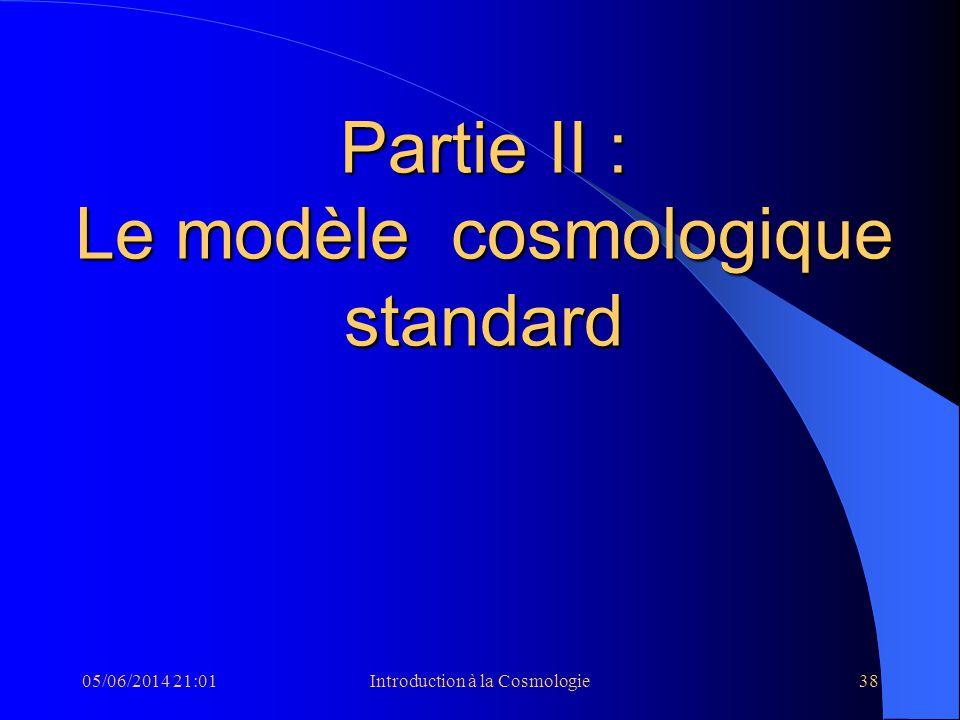 05/06/2014 21:03Introduction à la Cosmologie38 Partie II : Le modèle cosmologique standard