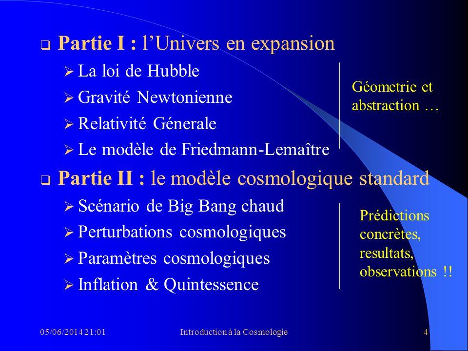 05/06/2014 21:03Introduction à la Cosmologie4 Partie I : lUnivers en expansion La loi de Hubble Gravité Newtonienne Relativité Génerale Le modèle de F
