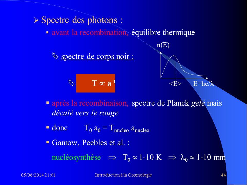 05/06/2014 21:03Introduction à la Cosmologie44 Spectre des photons : avant la recombination, équilibre thermique n(E) spectre de corps noir : T a -1 E