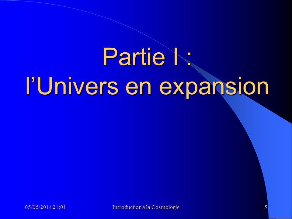 05/06/2014 21:03Introduction à la Cosmologie5 Partie I : lUnivers en expansion