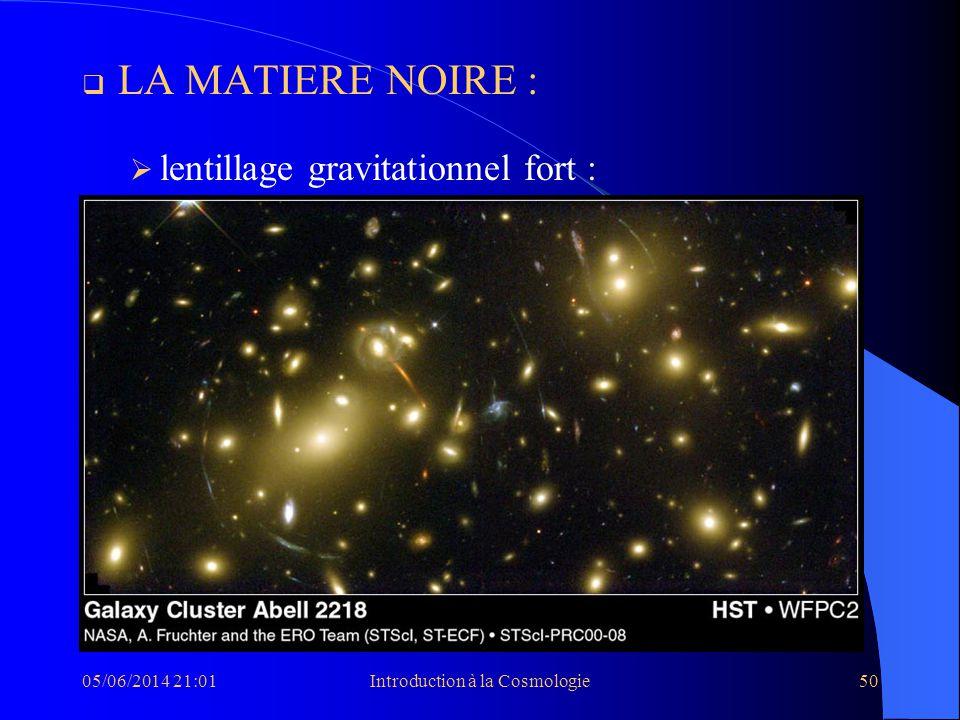 05/06/2014 21:03Introduction à la Cosmologie50 LA MATIERE NOIRE : lentillage gravitationnel fort : lentillage gravitationnel faible :