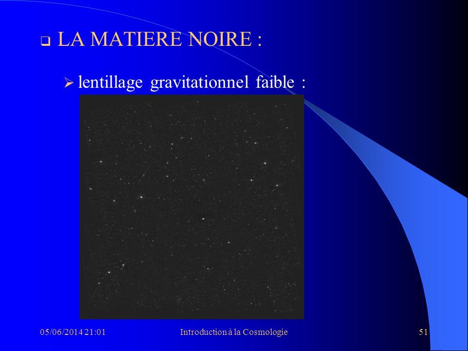 05/06/2014 21:03Introduction à la Cosmologie51 LA MATIERE NOIRE : lentillage gravitationnel faible :