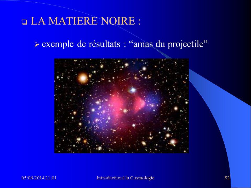05/06/2014 21:03Introduction à la Cosmologie52 LA MATIERE NOIRE : exemple de résultats : amas du projectile