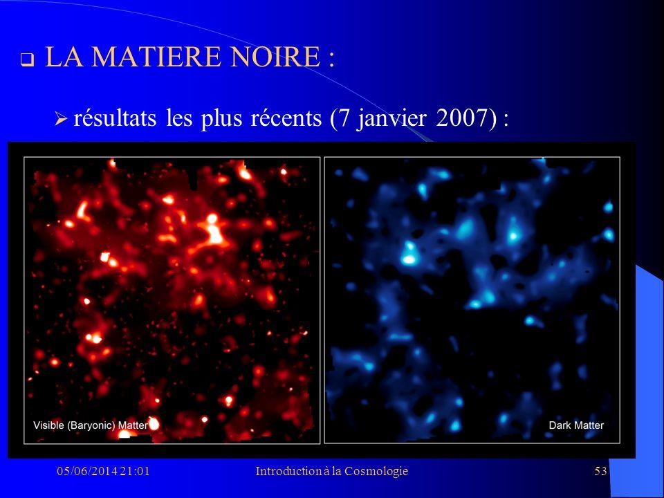 05/06/2014 21:03Introduction à la Cosmologie53 LA MATIERE NOIRE : résultats les plus récents (7 janvier 2007) :