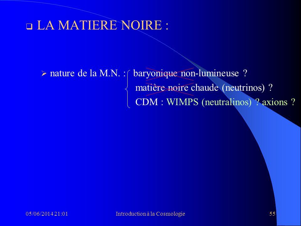 05/06/2014 21:03Introduction à la Cosmologie55 LA MATIERE NOIRE : nature de la M.N. : baryonique non-lumineuse ? matière noire chaude (neutrinos) ? CD
