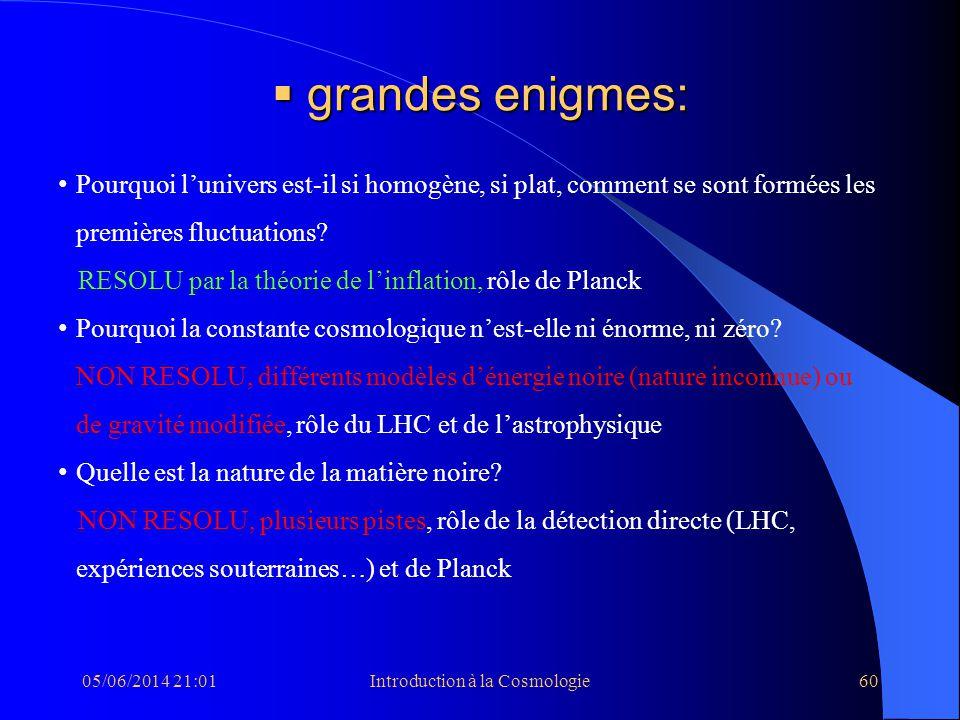 05/06/2014 21:03Introduction à la Cosmologie60 grandes enigmes: grandes enigmes: Pourquoi lunivers est-il si homogène, si plat, comment se sont formée