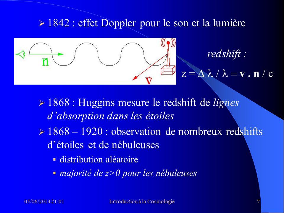05/06/2014 21:03Introduction à la Cosmologie7 1842 : effet Doppler pour le son et la lumière 1868 : Huggins mesure le redshift de lignes dabsorption d