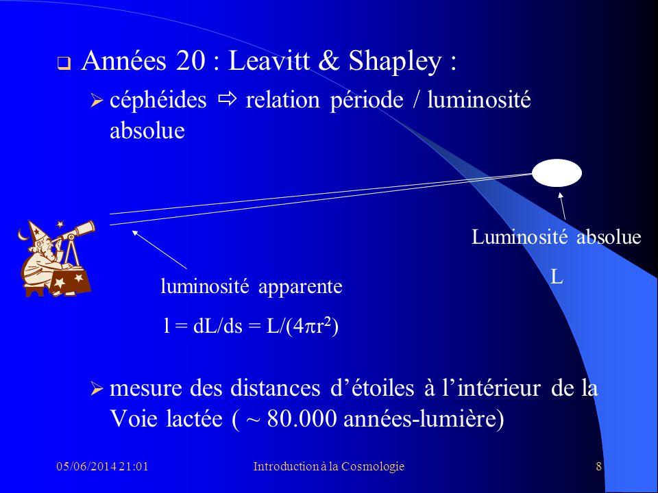 05/06/2014 21:03Introduction à la Cosmologie8 Années 20 : Leavitt & Shapley : céphéides relation période / luminosité absolue mesure des distances dét