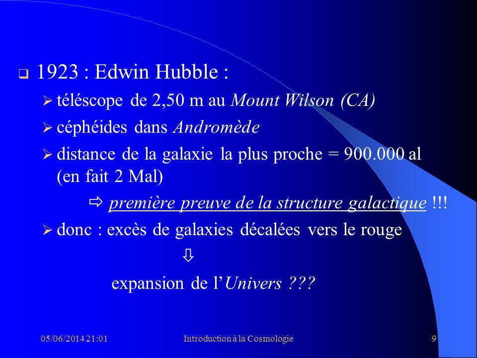 05/06/2014 21:03Introduction à la Cosmologie9 1923 : Edwin Hubble : téléscope de 2,50 m au Mount Wilson (CA) céphéides dans Andromède distance de la g