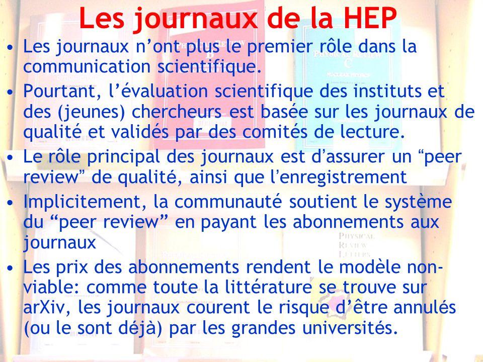 12 Les journaux de la HEP Les journaux nont plus le premier rôle dans la communication scientifique. Pourtant, lévaluation scientifique des instituts