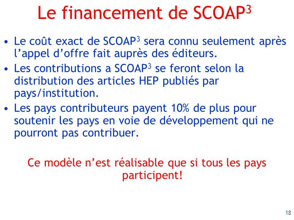 18 Le financement de SCOAP 3 Le co û t exact de SCOAP 3 sera connu seulement après lappel doffre fait auprès des éditeurs. Les contributions a SCOAP 3