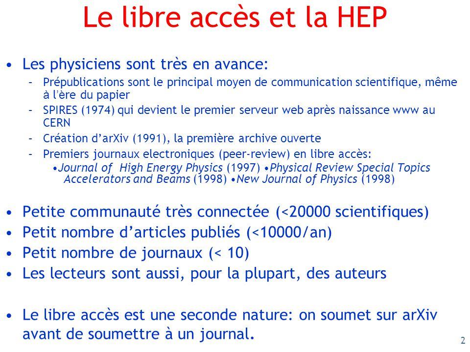 2 Le libre accès et la HEP Les physiciens sont très en avance: –Prépublications sont le principal moyen de communication scientifique, même à l è re d