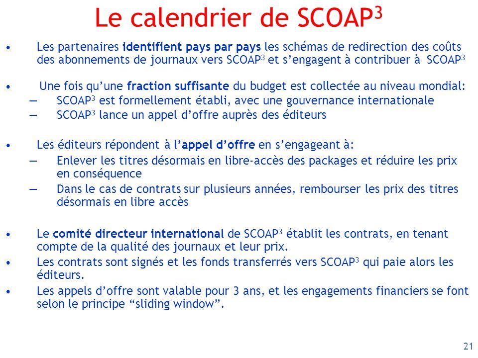21 Le calendrier de SCOAP 3 Les partenaires identifient pays par pays les schémas de redirection des coûts des abonnements de journaux vers SCOAP 3 et sengagent à contribuer à SCOAP 3 Une fois quune fraction suffisante du budget est collectée au niveau mondial: SCOAP 3 est formellement établi, avec une gouvernance internationale SCOAP 3 lance un appel doffre auprès des éditeurs Les éditeurs répondent à lappel doffre en sengageant à: Enlever les titres désormais en libre-accès des packages et réduire les prix en conséquence Dans le cas de contrats sur plusieurs années, rembourser les prix des titres désormais en libre accès Le comité directeur international de SCOAP 3 établit les contrats, en tenant compte de la qualité des journaux et leur prix.