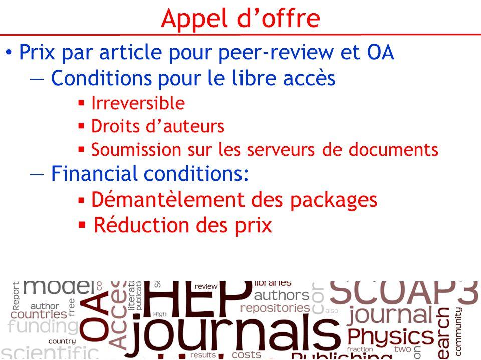 Appel doffre Prix par article pour peer-review et OA Conditions pour le libre accès Irreversible Droits dauteurs Soumission sur les serveurs de docume