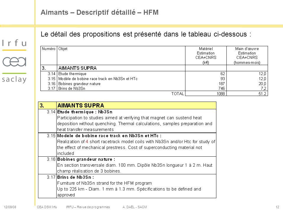 CEA DSM Irfu 12/09/08IRFU – Revue de programmes A. DAËL - SACM12 Aimants – Descriptif détaillé – HFM Le détail des propositions est présenté dans le t